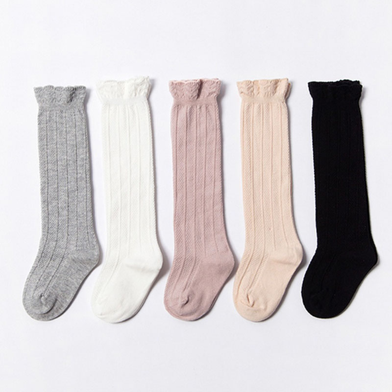 soft cotton knitted Children Baby Socks hollow out knee high Socks Kids Toddler Socks for baby Summer breathable Kids knee Socks