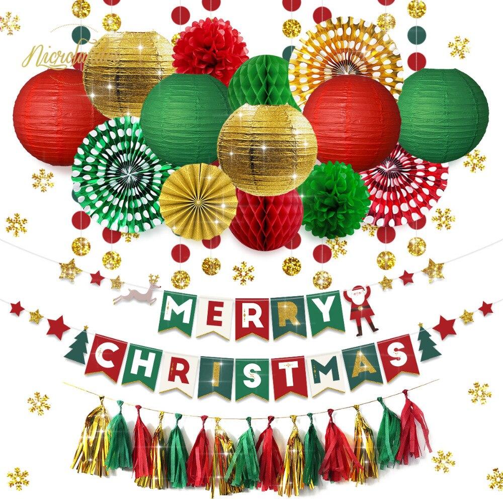 NICROLANDEE 32 pçs/set Decorações De Natal para Casa Festa Feliz Natal Decoração Nova Decoração Da Casa DIY