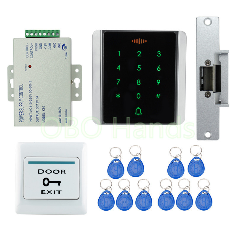 Waterproof access control system kit set with keyless cabinet lock+touch metal keypad+power supply+door exit button+ID keychains fingerprint door access control security system kit set with electric control lock power supply door exit button for 1000 user