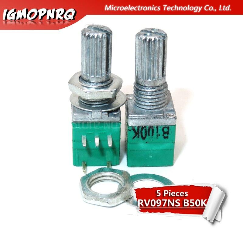 5pcs 8pin RV097NS B50K 50K Dual Potentiometer B50K With Switch Audio Amplifier Sealing Potentiometer RV097NS-B50K