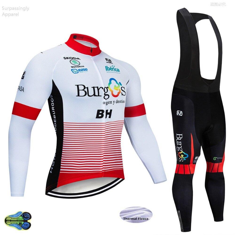Spor ve Eğlence'ten Bisiklet Takımları'de 2019 Kış Kırmızı Burg Termal Polar Bisiklet Ceket Bisiklet pantolon seti Erkek 12D Pedleri Ropa Ciclismo bisiklet Aşınma Maillot Culotte Suit title=