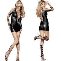 2017 Fashion Women Summer Bandage Dress Faux Leather Sexy PVC Vinyl V Front Back String Up