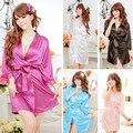 Женская Сексуальная Искусственного Шелка Сплошной Цвет Халат Короткий Халат Пижамы Пижамы