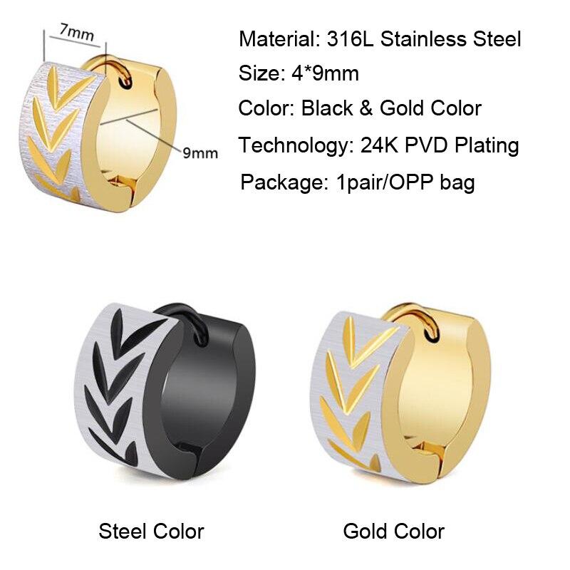 Punk Mens 316L Stainless Steel Gold Hoop Huggie Earrings Classic Charm Men Jewelry Black Color Earrings