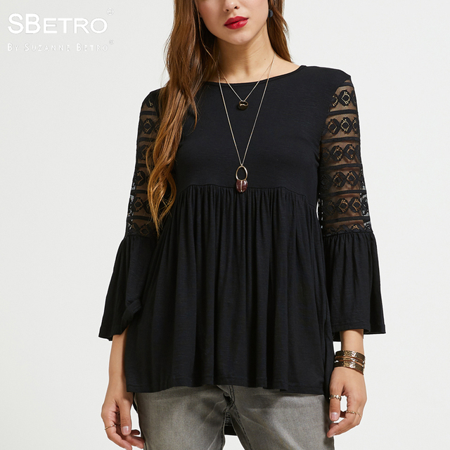 d06d43dc88 SBetro Lace Female Blouse Top Scoopneck 3/4 Bell Ruffle Sleeve Baby doll  Keyhole Autumn Tunic Women's Blouses