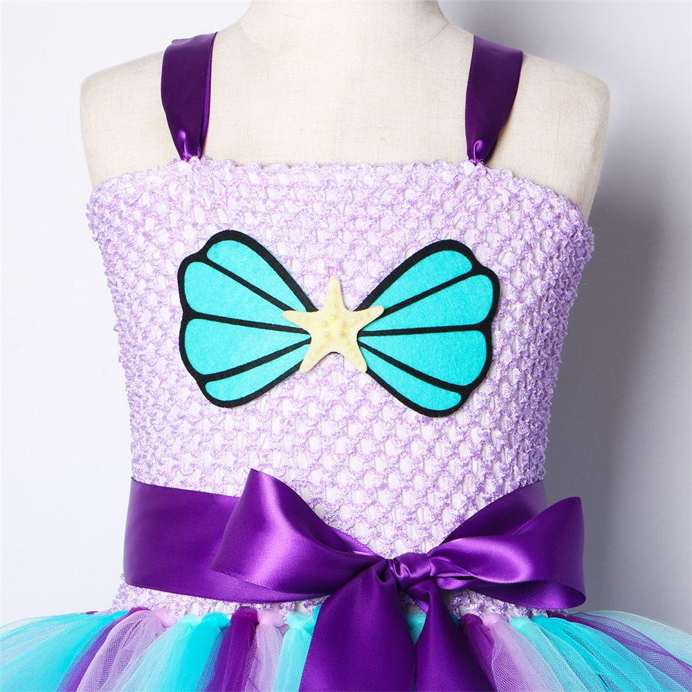 Image 5 - Mermaid Girls Tutu Dress with Headband Outfit Under The Sea Birthday Theme Party Dress for Kids Girl Princess Mermaid CostumeDresses   -
