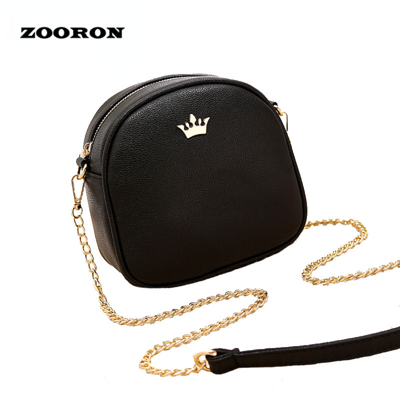 ZOORON Women Small Bag 2017 Summer New Girls PU Leather Messenger Bags Lady Circular Mini Chain Shoulder Bag Crossbody Bag lacattura small bag women messenger bags split leather handbag lady tassels chain shoulder bag crossbody for girls summer colors