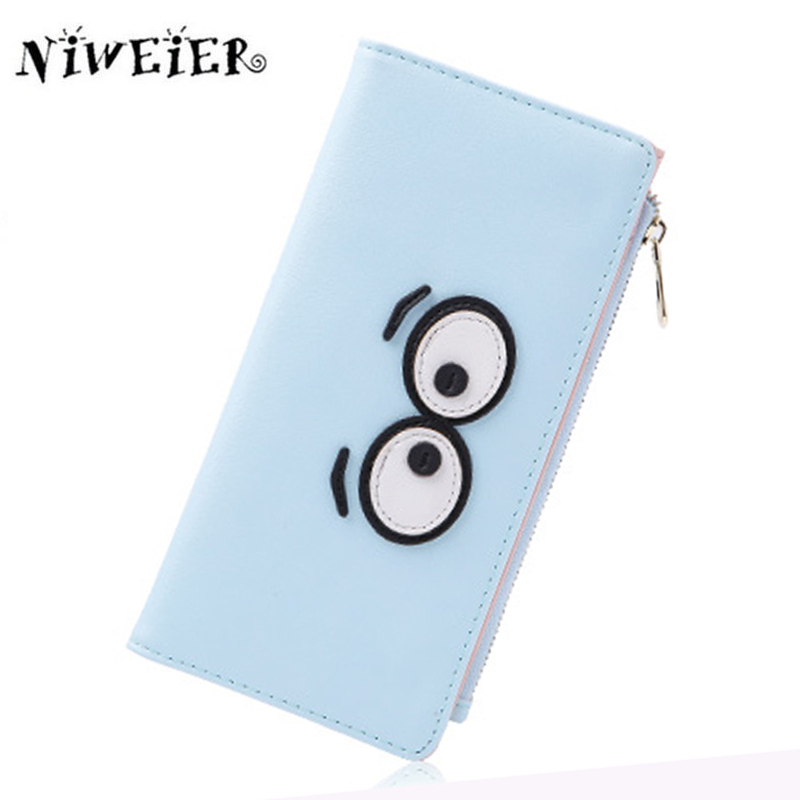 JULICXYJ Lovely Eyes Womans Purse Wallet Long Clutch Two Fold Fashion Girl Student Wallets Multicard Bit Bag Bolsa Feminina