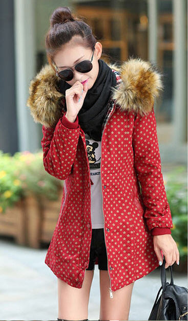 2014 New Women'S Long Hooded Cotton Coat Winter Thick Warm Raccoon Fur Collar Polka Dot Print Parkas Outwears Plus Size H3214 2017 winter new clothes to overcome the coat of women in the long reed rabbit hair fur fur coat fox raccoon fur collar