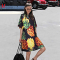 2018 Korean Style Summer Women Pineapple Printing Casual Beach Dress Black Pink Sundress Short Sleeve Cute Midi Sun Dress 2163