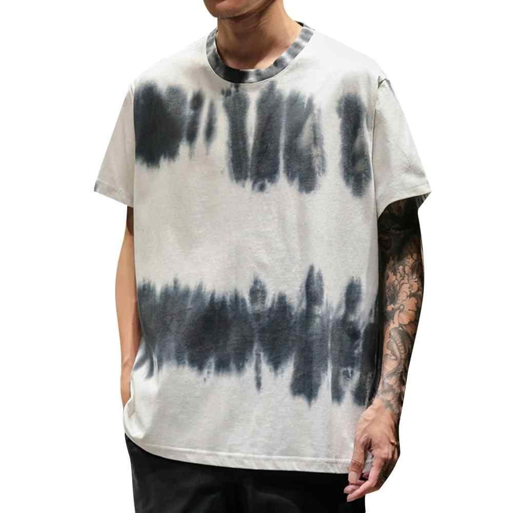 Pria Musim Panas Baru Fashion Tie-Dye Printing Lengan Pendek Nyaman Lebih dari Ukuran Pria Streetwear 2019 Keren hitam Putih