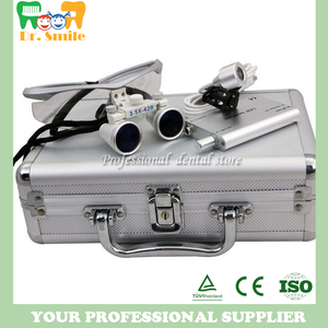 Image 2 - D  loupes  magnifying glasses dental and surgical loupes with head light packed in aluminium box