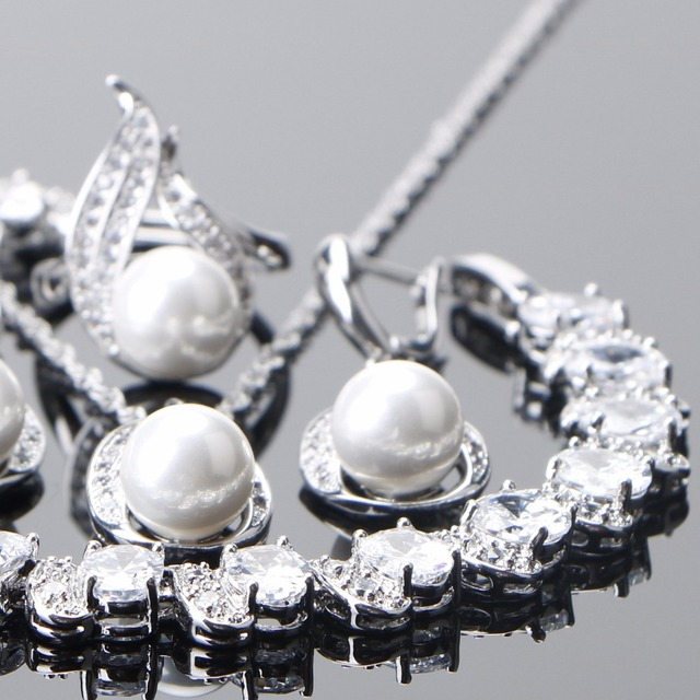925 Sterling Silver Bridal Pearl Jewelry Sets 1