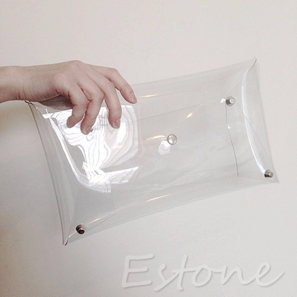 THINKTHENDO Fashion Clear Unisex Envelope Clutch PVC Vinyl Studded Transparent Bag Handbag