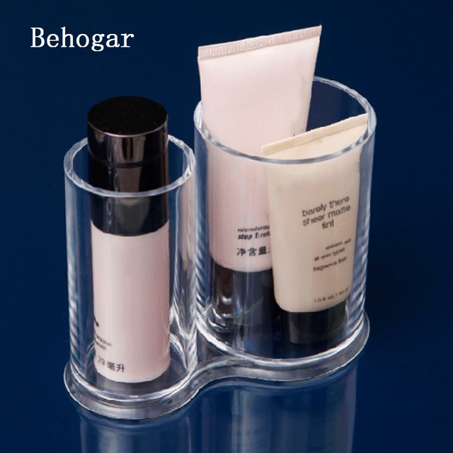 Behogar Acrylic Round Cotton Pad Holder Container Cosmetic Makeup