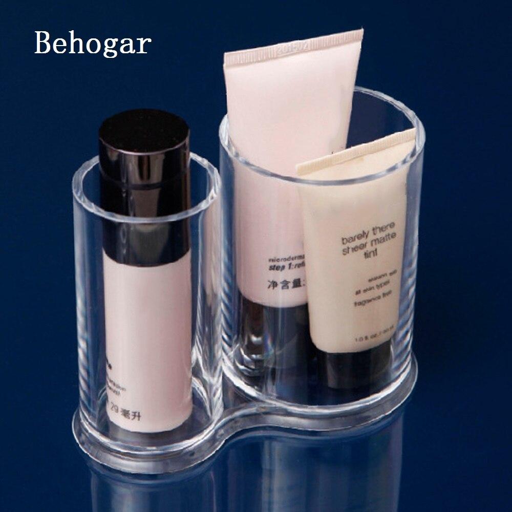 Behogar Acrylic Round Cotton Pad Holder Container Cosmetic Makeup Organizer Jewelry Storage Box Case Make Up Cylinder Dispenser