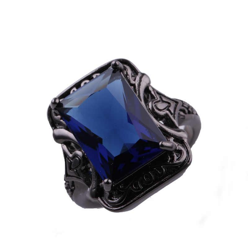 Cool ผู้ชายผู้หญิงแหวนหรูหราสีดำ Gun Plated อัญมณีสีชมพู Cubic Zirconia แก้ว Rock HipHop กว้างแถบที่ละเอียดอ่อนเครื่องประดับนิ้วมือใหม่
