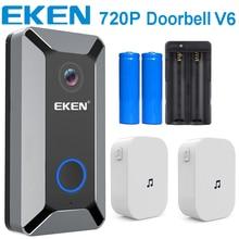 Умный беспроводной дверной звонок EKEN V6 720P с Wi Fi, видеокамера с облачным хранилищем, дверной звонок с внутренним сигналом, визуальный домофон с ночным видением