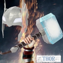 Child Cosplay Thor LED Light Luminous Sounding Helmet Weapon Hammer Quake Model Action Toys Fancy Props