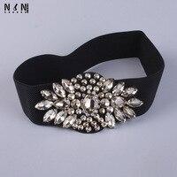 Europe Wide Elastic Belt With Crystal Decorative Fur Accessories Fashion Girls All Match Diamond Waist Elastic