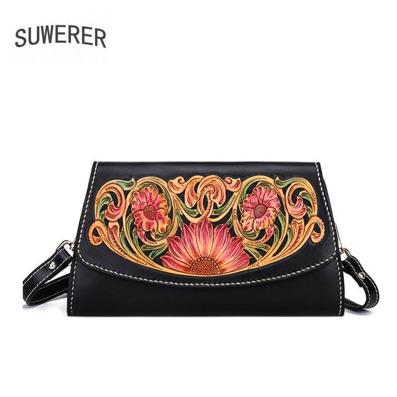 SUWERER New women genuine leather bag top cowhide Hand Carved women handbags fashion Luxury clutch bag women leather shoulder ba