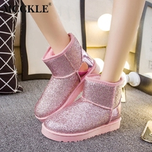 MCCKLE Women Casual Flatform Flat Glitter Mid Calf Boots Female Slip On  Winter Warm Snow Boots 843715e8ec9b