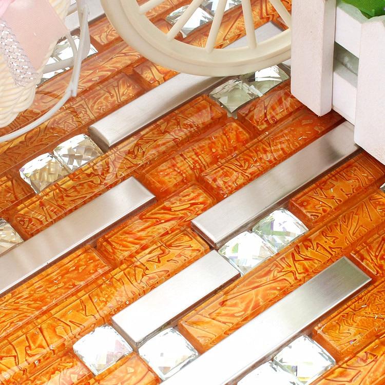 Orange Kitchen Backsplash Tile: Orange Stainless Steel Glass Mosaic Tile HMGM1083J