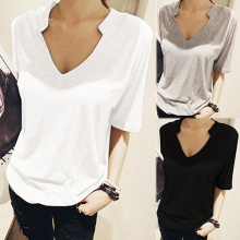 2016 New Women's Summer Korean Style Casual V-Neck Short Sleeve Solid Loose T-Shirt Top