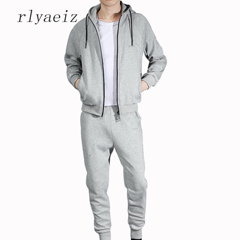 Rlyaeiz High Quality 2017 Spring Autumn Brand New Sporting Suit Men Tracksuit Zipper Hooded Hoodies + Pants Casual Two Piece Set