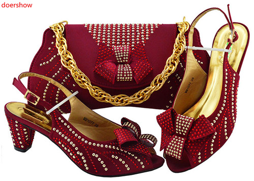 doershow wine Shoes and Bag Set for Women High Quality Italian Shoes with Matching Bag Set Decorated with Rhinestone  !HWD1-24doershow wine Shoes and Bag Set for Women High Quality Italian Shoes with Matching Bag Set Decorated with Rhinestone  !HWD1-24