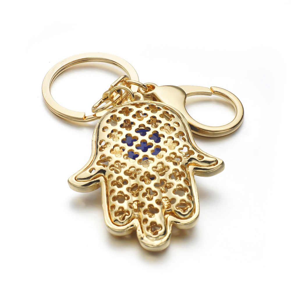 Suerte Hamsa Fátima ojos de mano llaveros amuleto bolso hebilla colgante para llaveros de coche llavero soporte mujer K236