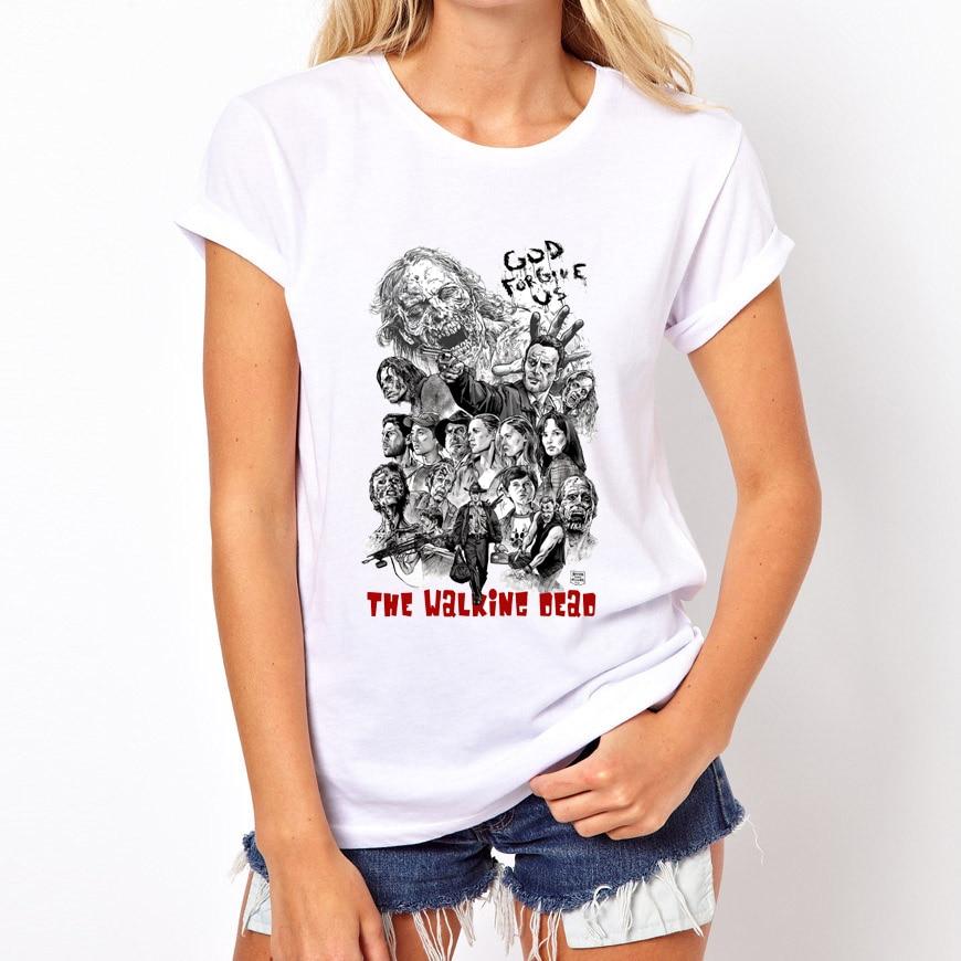 The Walking Dead T-Shirt Mujer Marca de Moda Streetwear o-cuello Divertido Conme