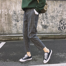 2018 New Spring Women Fashion Loose Style Ankle-Length Pants Ladies Plaid Straight Pants Famle Casual Harem Pants