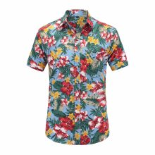 2018 New Fashion Mens Short Sleeve Hawaiian Shirt Summer Casual Floral Beach Turn-down Collar Shirts For Men flower Clothing 3XL(China)