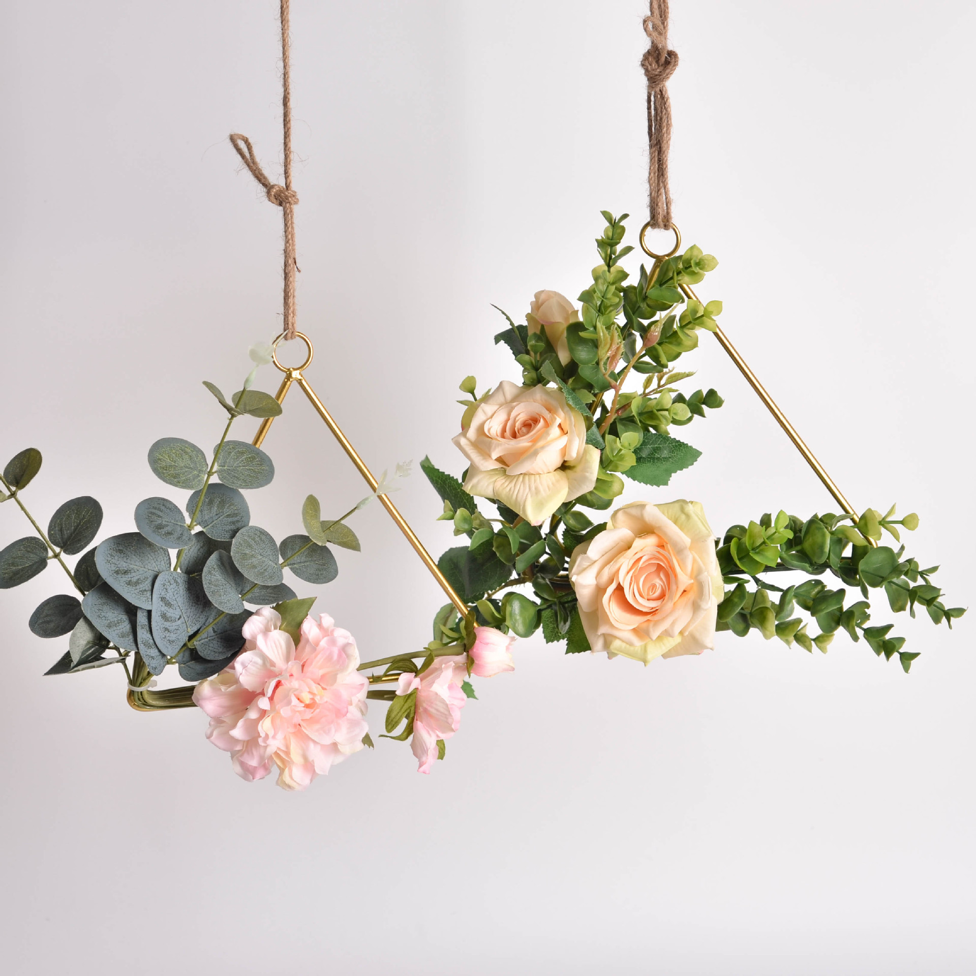 Cilected Iron Floral Hoop Wreath Artificial Flowers Wall Hanging Wreaths Decoration For Wedding Home Party Door Decoration