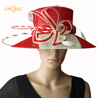 IVORY/RED two tone wide brim dress Sinamay Hats Church hats,for races,wedding and church.