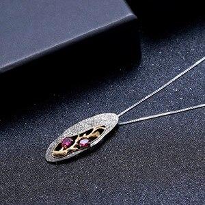Image 3 - GEMS bale 1.2Ct doğal Rhodolite Garnet yazılı kolye 925 ayar gümüş orijinal el yapımı kolye kolye kadınlar için
