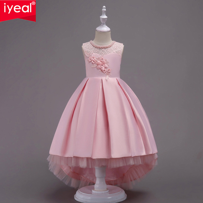 IYEAL Children Princess Dress For Girls Party Elegant Kids Wedding Gown Flower Girls Dresses For Girls Clothing Vestido Daminha baby girls striped dress for girls formal wedding party dresses kids princess children girls clothing