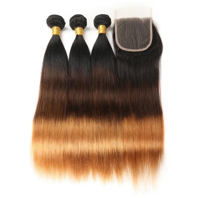 Ombre Straight Hair Bundles with Closure 1B 4 30 Honey Blonde 3 Bundles Brazilian Human Hair
