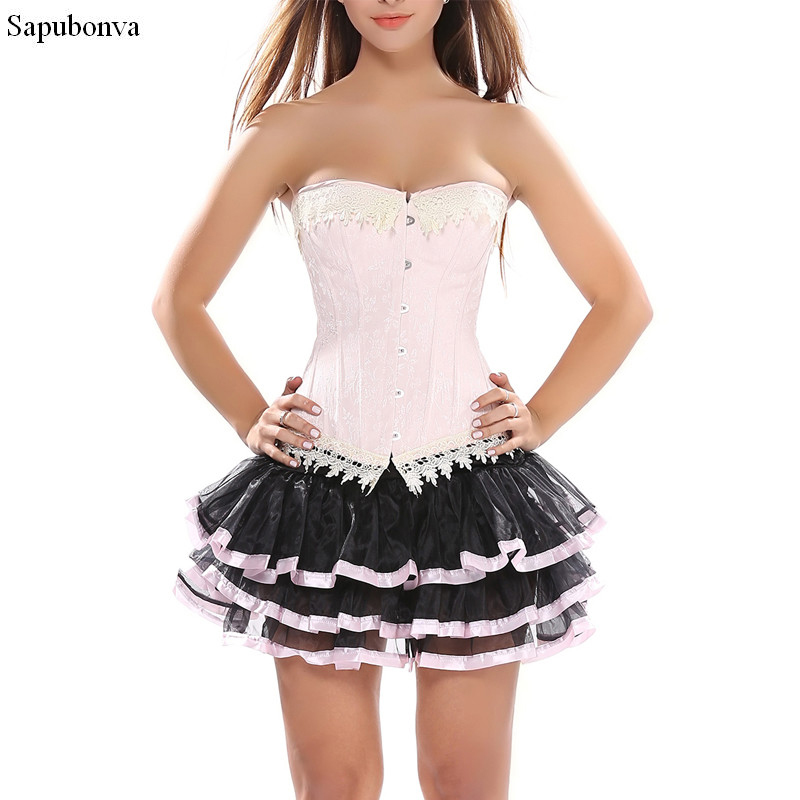 Corset Dresses For Women Gothic Victorian Lolita Mesh Sexy Hot Women Corset  Bustier Skirt Set Burlesque Costumes Pink Plus Size-in Bustiers   Corsets  from ... 7b17b1360302