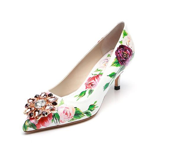 New Arrivals Flower Print Leather Low Heel Pumps Crystal Buckle Pointed Toe Wedding Shoes Bride Slip-on Women Pumps Customized