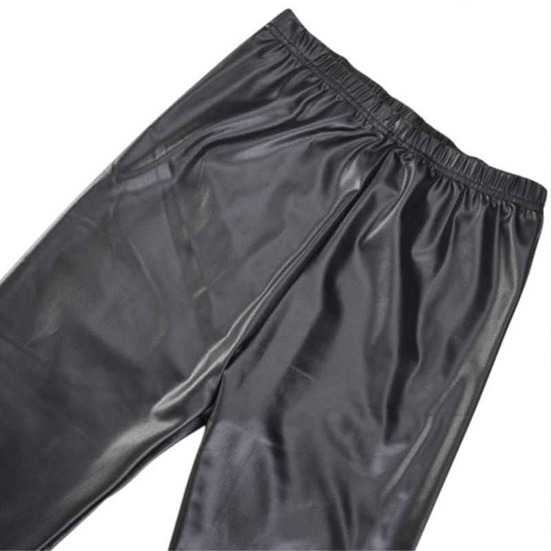 De cuero de las mujeres pantalones de lápiz Delgado otoño bajo Slim de cintura elástico de la PU Pantalones de las señoras de moda de pantalones