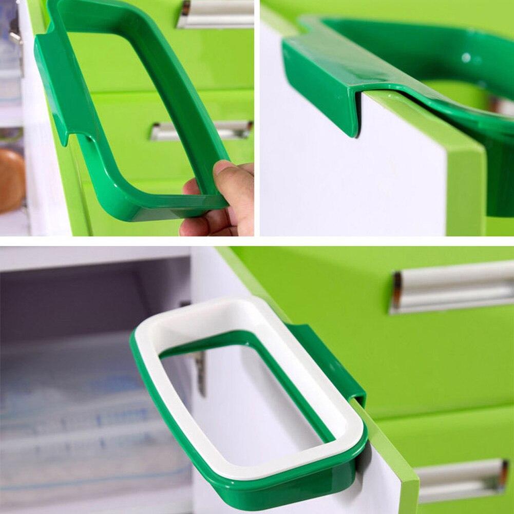 Kitchen Garbage Bag Rack Holder Hanging Bag Cupboard Cabinet Tailgate Stander Storage Hooks Rails Green Trash