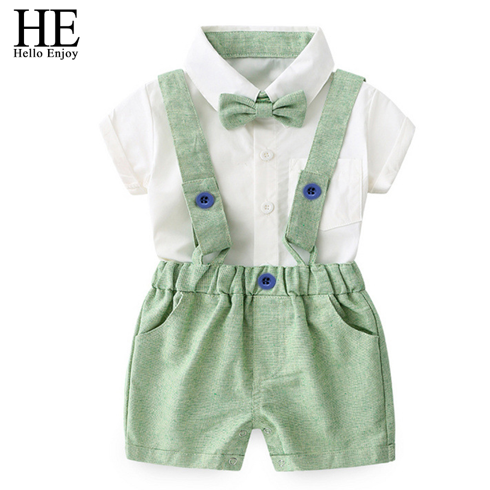HE Hello Enjoy/для маленьких мальчиков одежда летний комплект Рубашка с короткими рукавами рубашка с бабочкой топ + брюки на подтяжках детская оде... ...