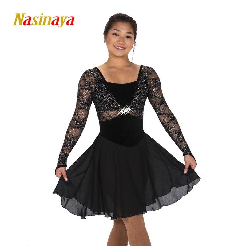 Nasinaya robe de patinage artistique concours personnalisé jupe de patinage sur glace pour fille femmes enfants Patinaje gymnastique Performance 307