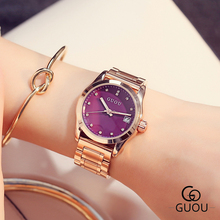 GUOU Brand Luxury Women Watches Fashion Quartz waterproof Ladies Stainless steel Watch Women Rhinestone Watches relogio feminino women watches 2016 guanqin tungsten steel waterproof quartz watch luxury women brand fashion watches relogio feminino