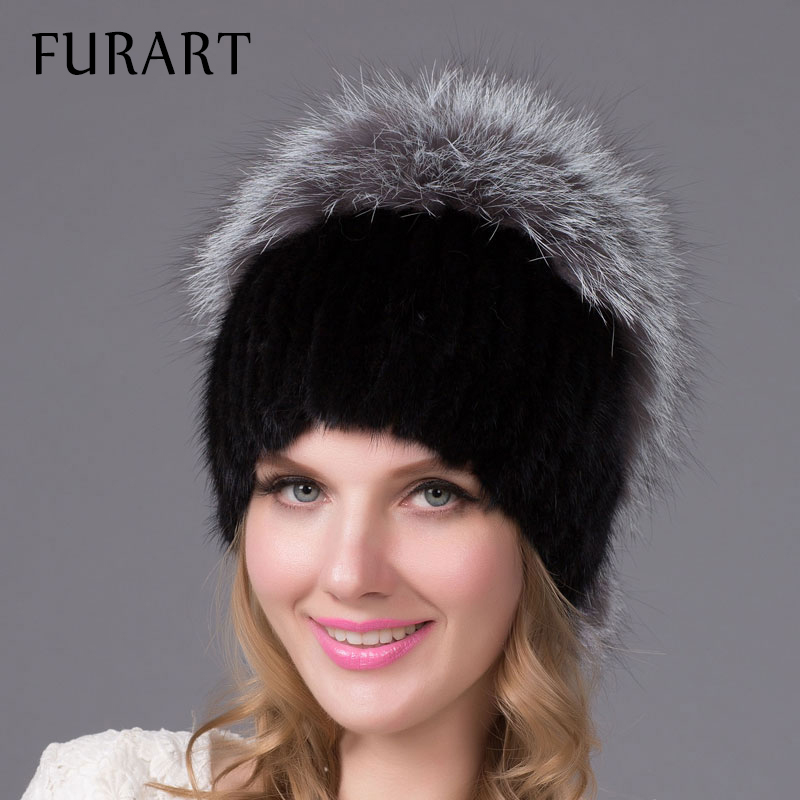 Warm Winter Fur Hats Genuine Mink Fur Cap with Fox Fur Ball Hat Pom Poms Knitted Skullies Female Fur Headgear Beanies Cap DHY-19 skullies beanies mink mink wool hat hat lady warm winter knight peaked cap cap peaked cap