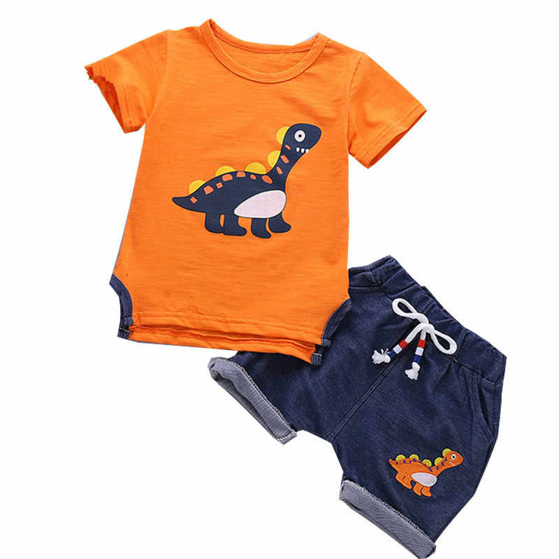 Kids Baby Boys summer clothes dinosaur animal costume Short Sleeve  T-shit+Pants girl clothes Sport Suits toddler girl outfits