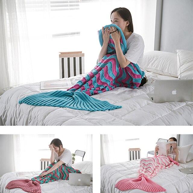 2018 sirena cola manta de punto ondulado rayas pescado cola alfombra ...