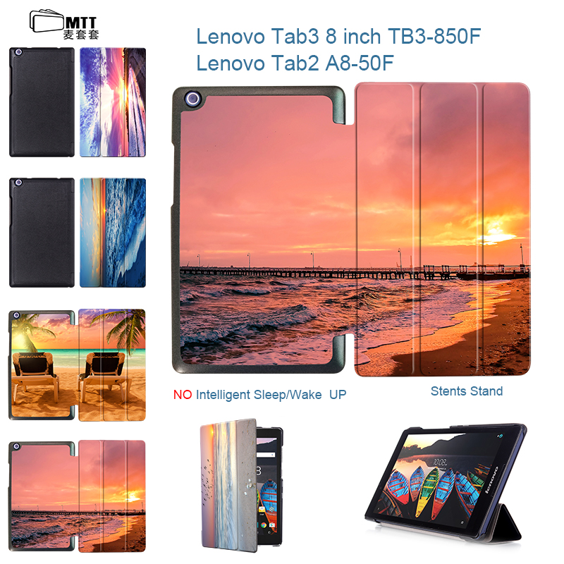 MTT Seascape Print PU Leather Cover For Lenovo Tab 2 A8-50 A8-50F A8-50LC 8 Tablet Case for Lenovo Tab 3 TAB3 8.0 850 850F 850M ultra slim flip with magnetic pu leather folding stand cover case for lenovo tab 2 a8 50 a8 50f a8 50lc 8 0 tablet case